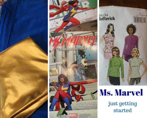 Blue and gold fabric, Ms. Marvel Comics, Butterick Pattern