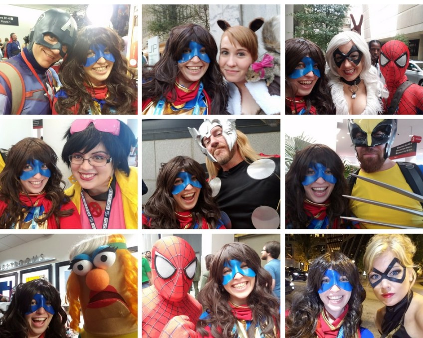 Ms. Marvel taking selfies with other superheroes