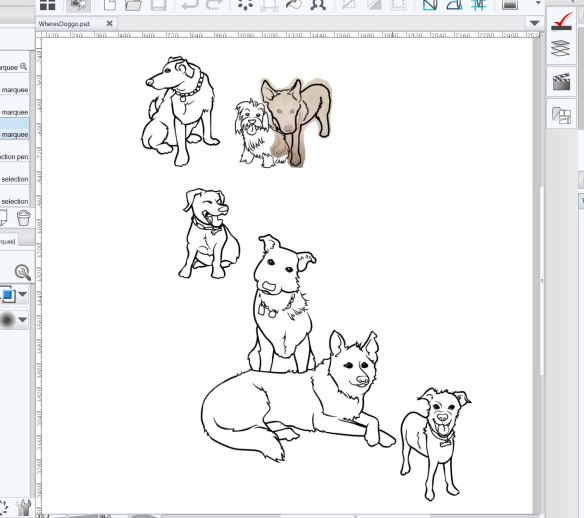 Sketch of 7 dogs in Manga Studio