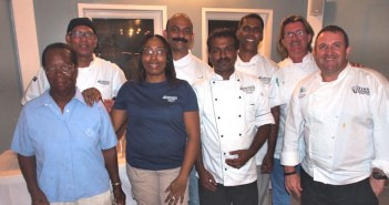 At the Sister Islands Cookoff are (L-R) SCC's Ms. Merilda Messias, Ms Joan Muir, Chef Francisco Diaz, Chef Manuel D'Souza and SCC's Executive Chef Anu Christopher with the Cook-off Judges: Shetty Vidyadhara, Head of the Cayman Culinary Society, Owner of Blue Cilantro on Seven Mile Beach; Keith Griffen, Vice President Cayman Culinary Society, Manager of the Cayman Culinary Team; Wayne Jones O'Connor, Owner-Chef of Food For Thought Catering, Grand Cayman's Premier Catering House.