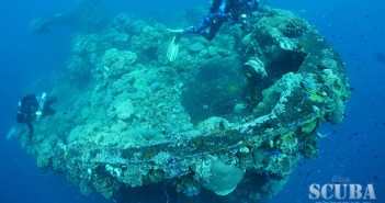 The bow of the Fujikawa Maru with docking telegraph and breech-loading 6-inch gun aft, the date 1899 is still visible. © Ewan Rowell