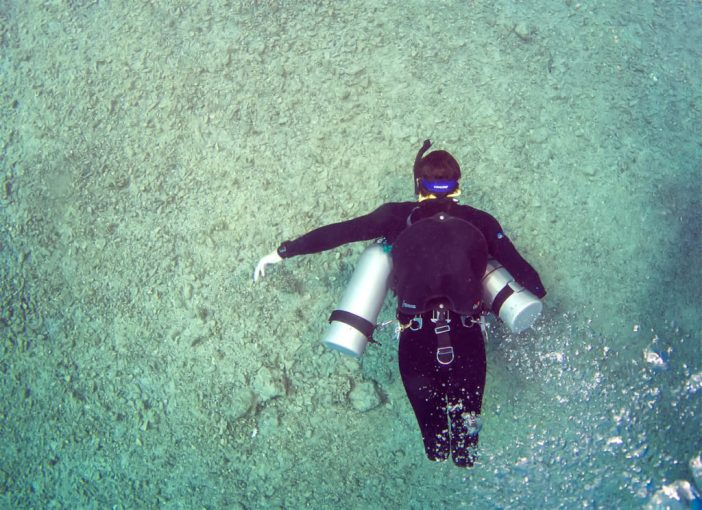 Triple amputee Josh Boggi diving sidemount. Photo - Dmitry Knyazev