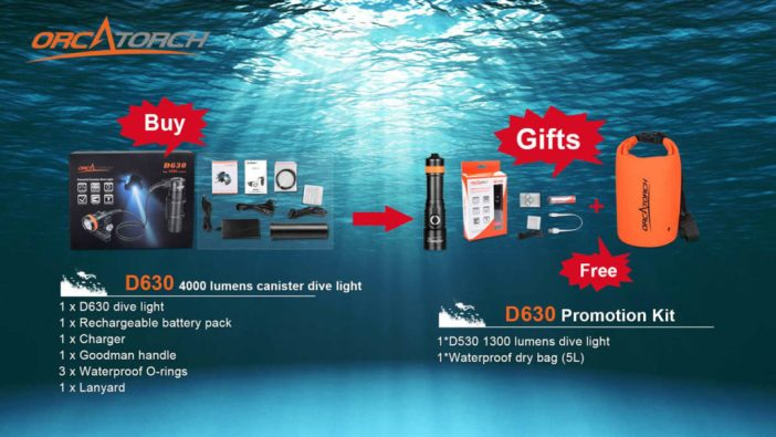 Buy OrcaTorch D630 Dive Light, Get a D530 and a 5L Waterproof Bag Free
