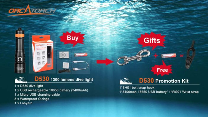 Buy OrcaTorch D530 Dive Light, Get a SH01 bolt snap hook and a 18650 3400mAh Battery or a WS01 Wrist strap Free