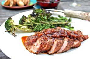 Grilled Rum-glazed Pork with Rhubarb Chutney