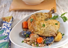 Roasted Chicken with Herb Butter & Farro
