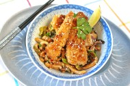 Crispy Bluefish with Spicy Udon Noodles