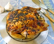 Slow Roasted Garlic Chicken with Tarragon Butter