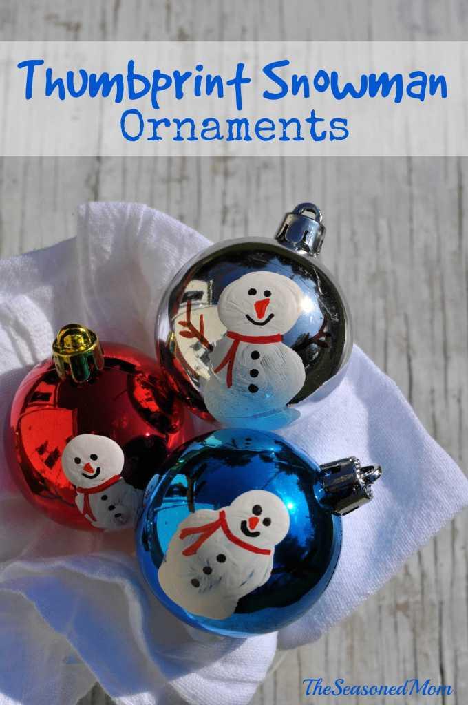 Homemade Christmas Ornaments: Thumbprint Snowmen