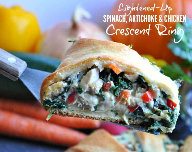 Lightened-Up Spinach Artichoke & Chicken Crescent Ring