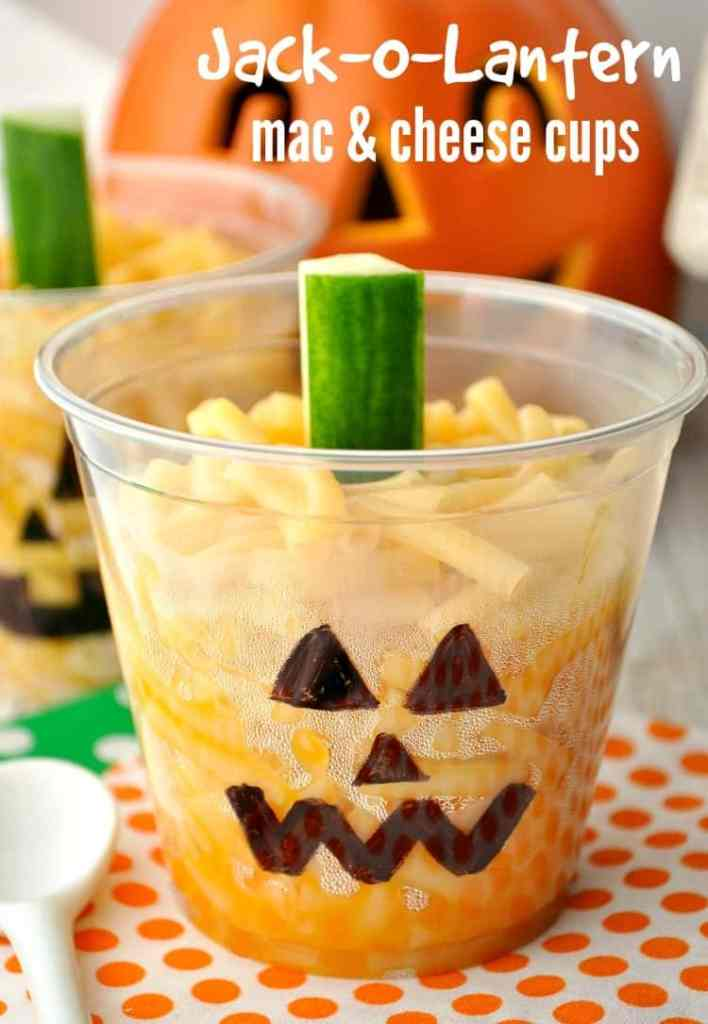 Jack-O-Lantern Mac & Cheese Cups