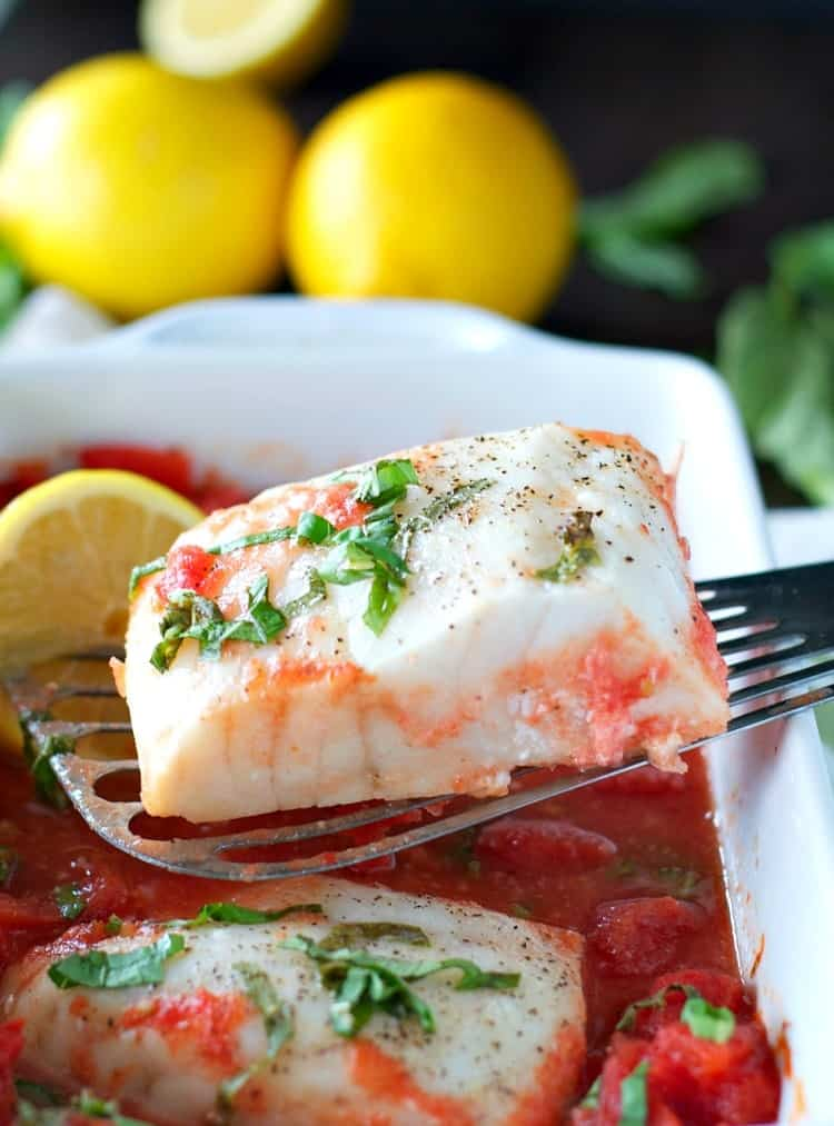 4-Ingredient Baked Fish with Tomato and Basil Sauce