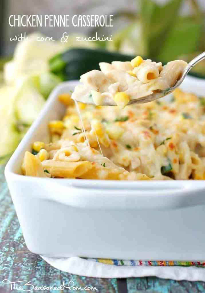 Chicken Penne Casserole with Corn and Zucchini