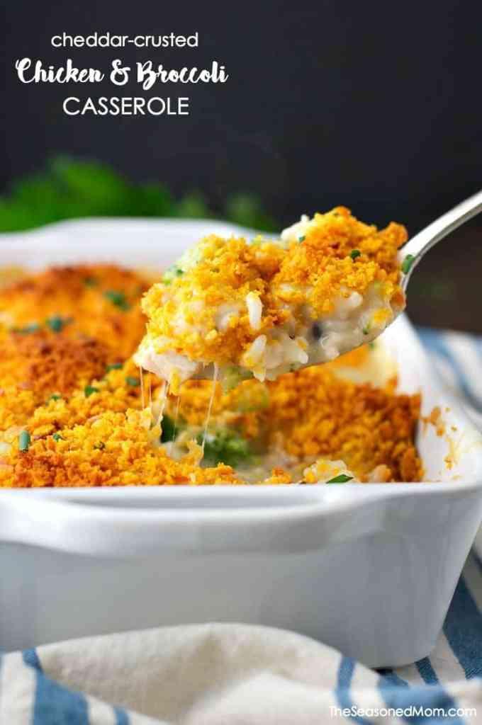 Cheddar Crusted Chicken and Broccoli Casserole