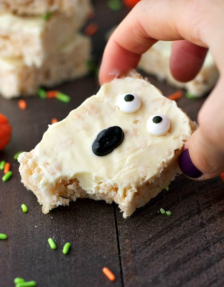 Give your friends and family a fright with these quick and easy Rice Krispies® Boo! Bars -- a perfectly spooky Halloween food to serve at your next party!