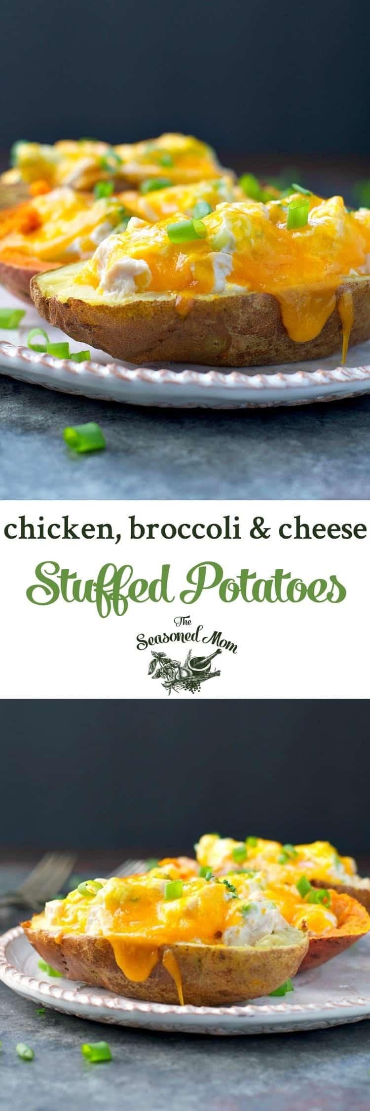 Chicken, Broccoli And Cheese Stuffed Potatoes - The Seasoned Mom-9533