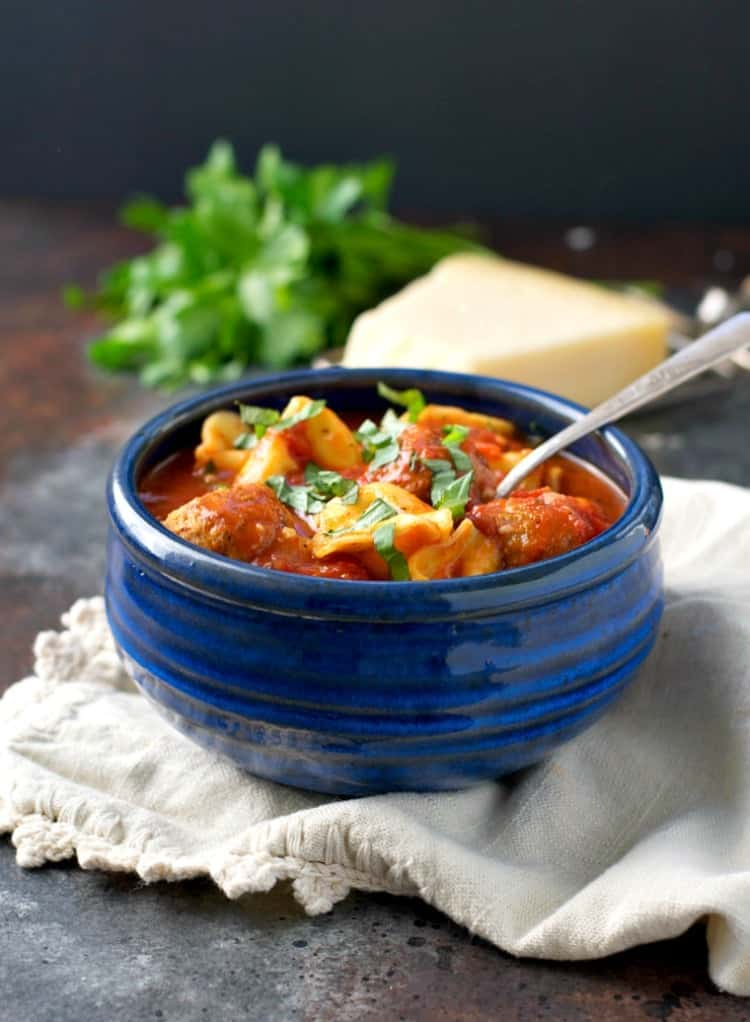 With just 2 minutes of prep and one pot, this Weeknight Meatball and Tortellini Soup is an easy dinner that comes together in only 30 minutes!