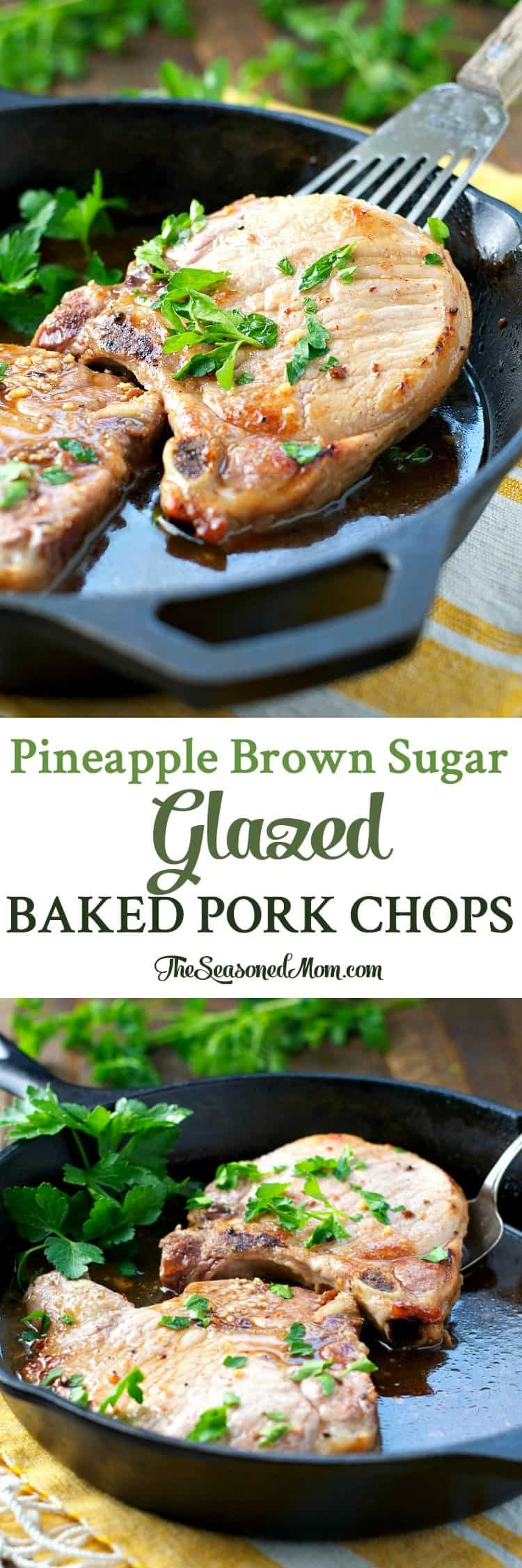 With just 5 minutes of prep, these Pineapple Brown Sugar Glazed Baked Pork Chops are an easy dinner that's ready in less than 30 minutes!