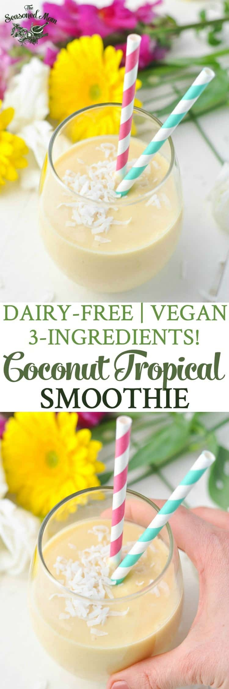 3-Ingredient Coconut Tropical Smoothie! Dairy-Free | Vegan | Gluten Free | Healthy Breakfast Recipes | Breakfast Ideas | Healthy Snacks | Vegan Breakfast | Vegan Recipes
