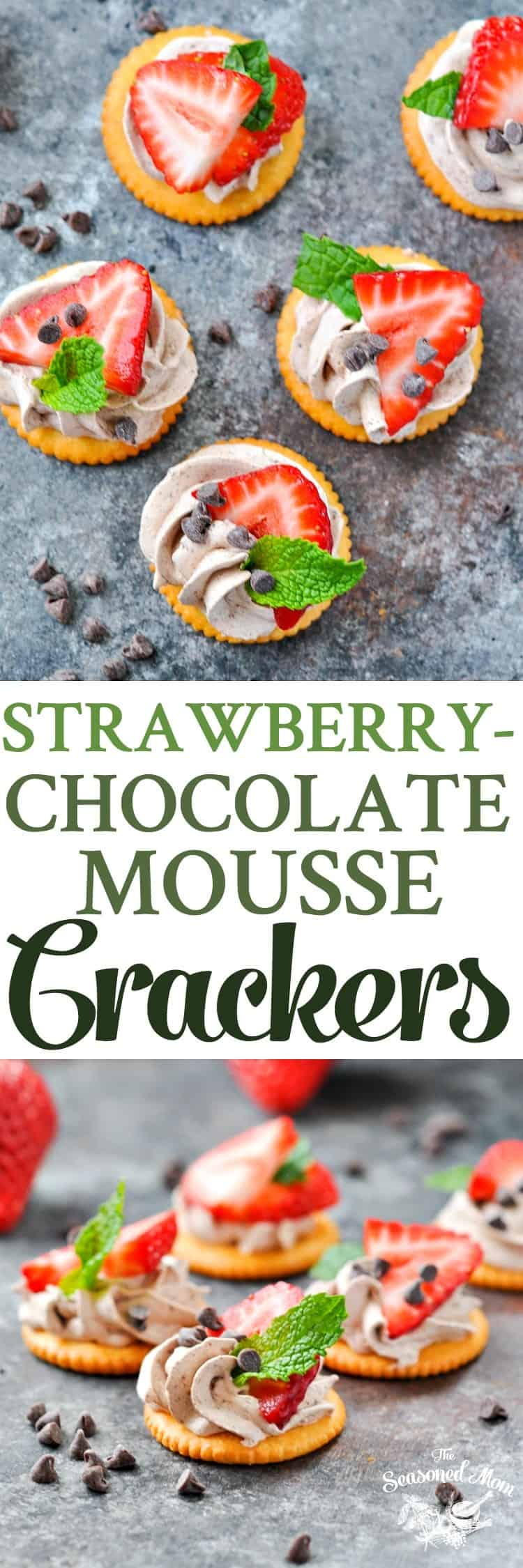 5-Ingredient Strawberry Chocolate Mousse Crackers | Chocolate Desserts | Easy Desserts | Dessert Recipes | Party Food | Party Appetizers | Snacks for Kids | Snack Ideas