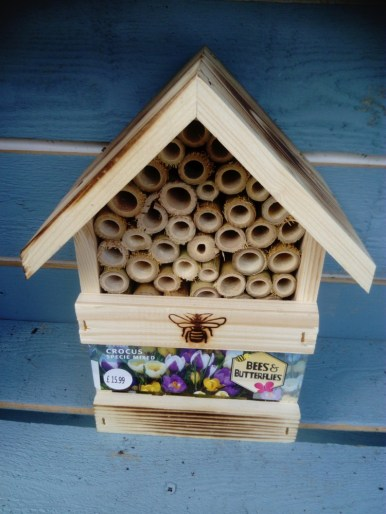 Bug Hotel Solitary bees and other bugs will make use of this hotel during the winter. Place near to were you plant the crocus, they will have something to feed on after the winter.