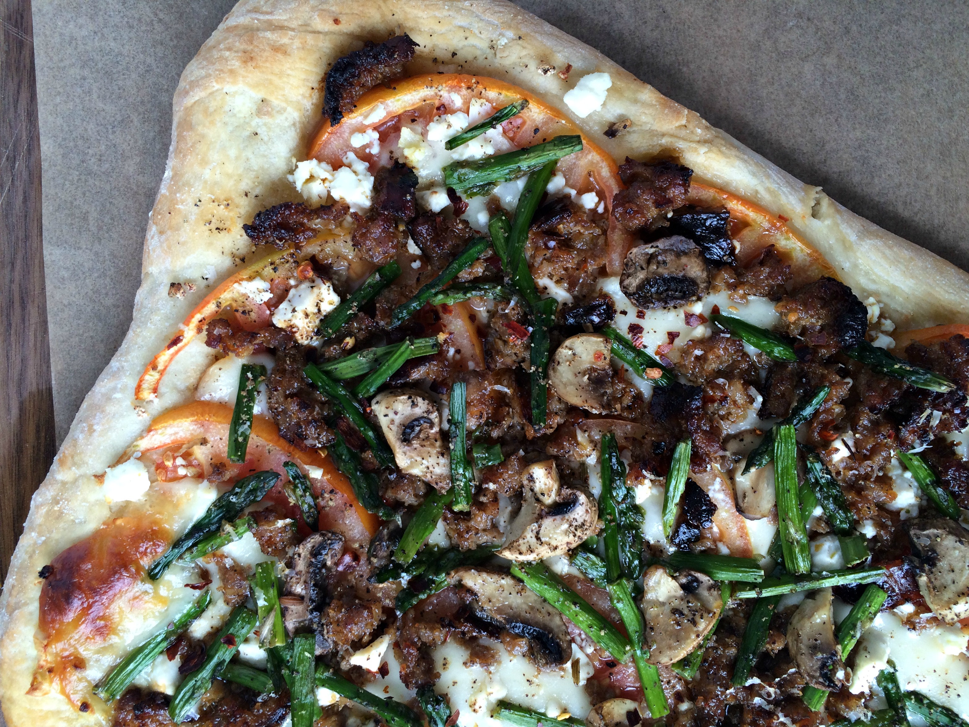 Asparagus Mushroom Sausage Pizza With Balsamic Glaze