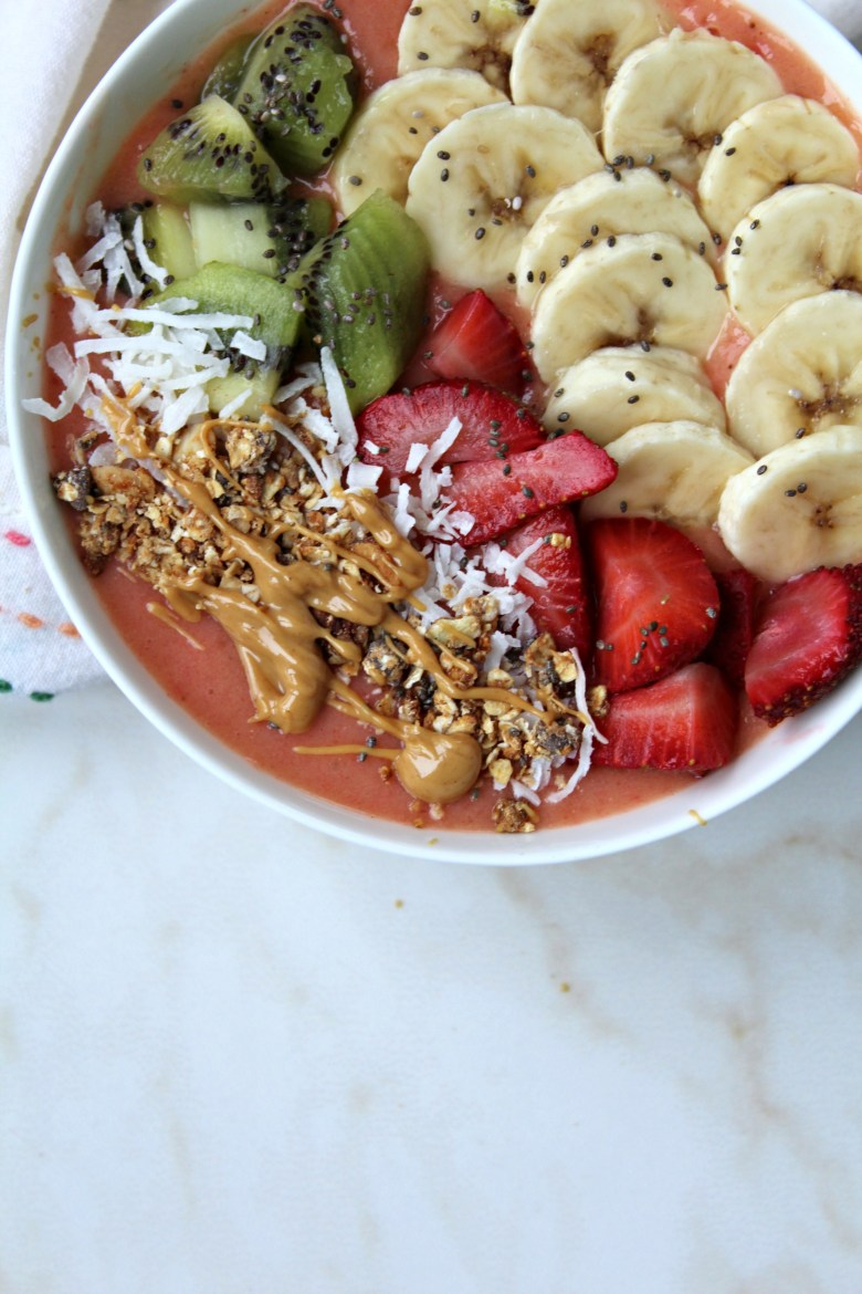 Strawberry Mango Banana Smoothie Bowl