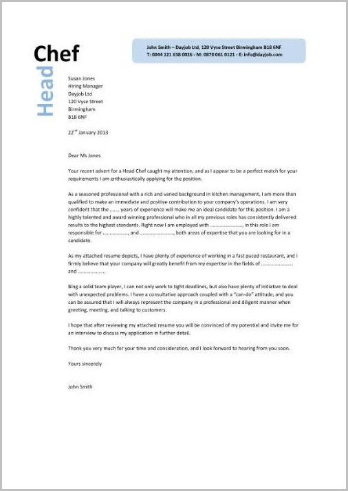 Culinary Cover Letters Vorte