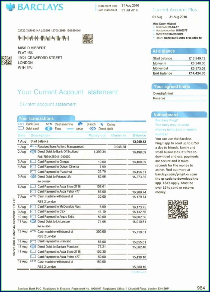 Nab Bank Statement Template Templates 1 Resume Examples