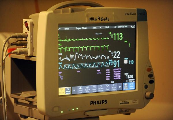 Heart monitor and other vitals can be monitored from video cameras inside the (Electronic Intensive Care Unit) at the Banner Health East Morgan County Hospital by doctors and nurses from within the Banner Health hospital systems from other states. Andy Cross, The Denver Post