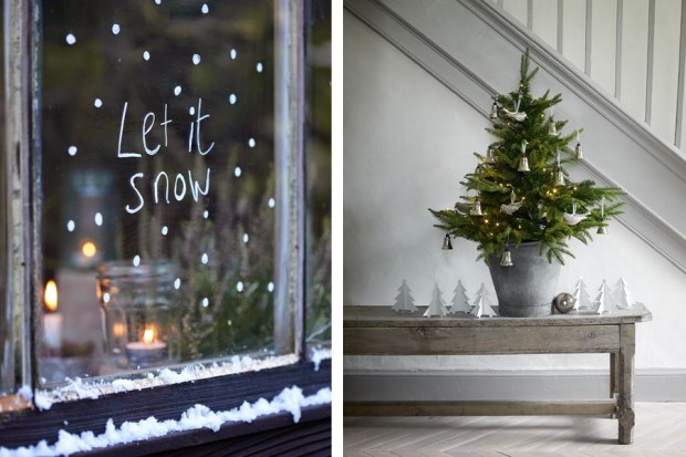 Christmas window and grey Christmas tree