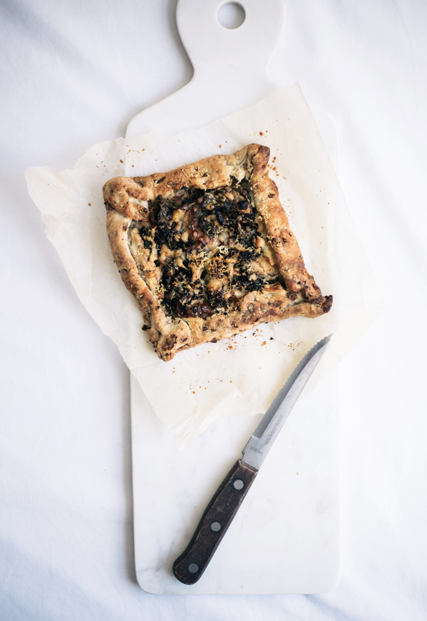 Recipe | Kale, caramelised onion & cheese tart with chestnut pastry | These Four Walls blog