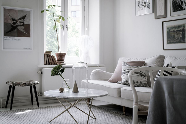 Home tour | A Swedish apartment in white, grey & pink | These Four Walls blog