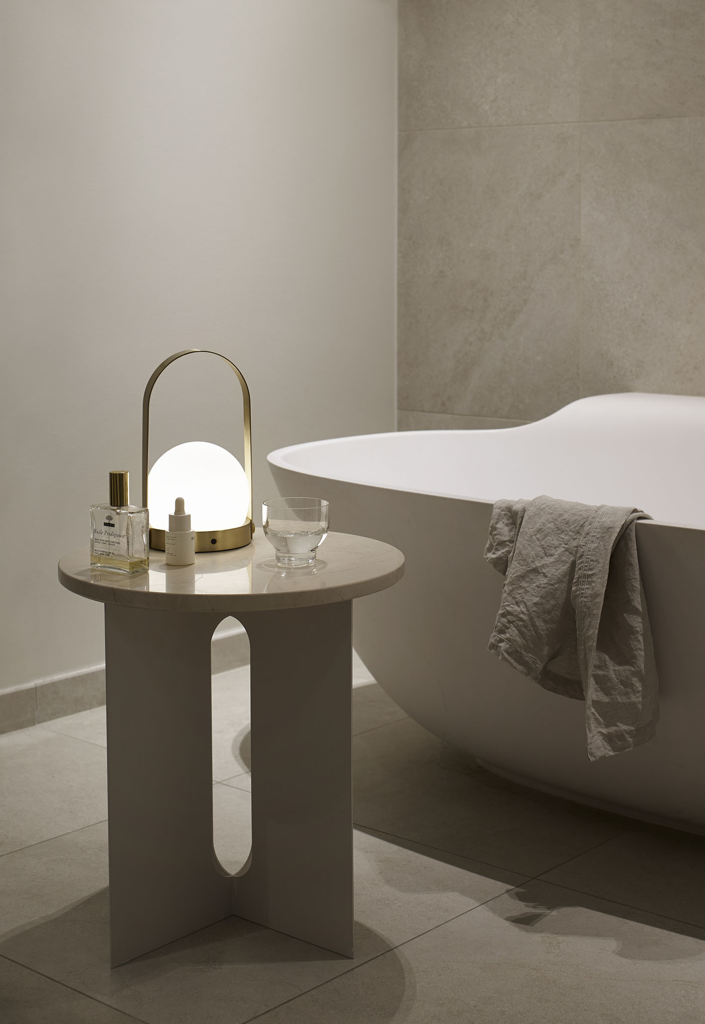 Contemporary minimalist bathroom in soft, earthy neutrals   How to design a lighting scheme that works for you   These Four Walls blog