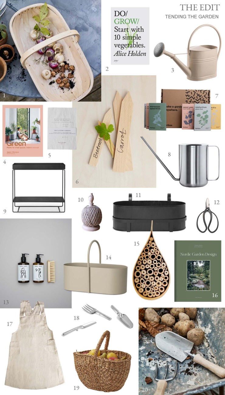 A curated selection of stylish, functional accessories for gardening outdoors and in - tools, seeds, inspiring books, aprons, watering cans and more   These Four Walls blog
