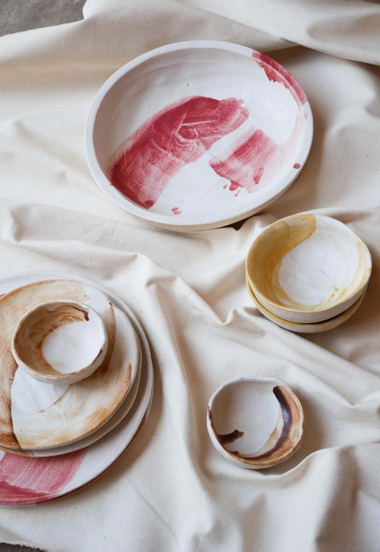 Hand-painted tableware in earthy browns, sunny yellows and vibrant pinks from Kana London's 'SUMMER LAND' collaboration with Caro | New finds - July 2021 | These Four Walls blog
