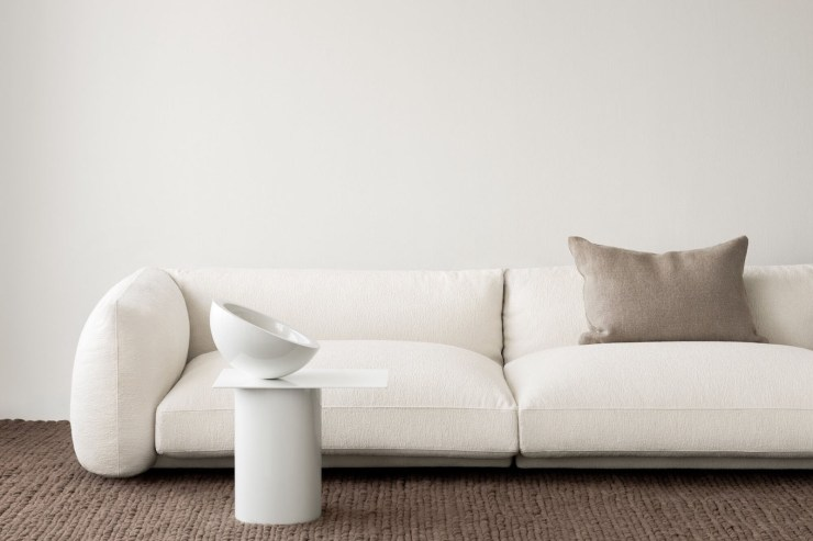 Curved beige bouclé sofa from Lotta Agaton's new collaboration with Scandinavian design brand Layered | New finds - July 2021 | These Four Walls blog