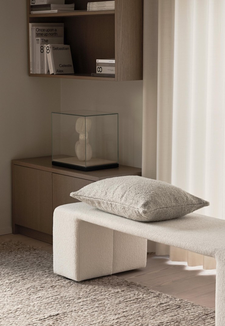 Curved beige bouclé bench from Lotta Agaton's new collaboration with Scandinavian design brand Layered | New finds - July 2021 | These Four Walls blog