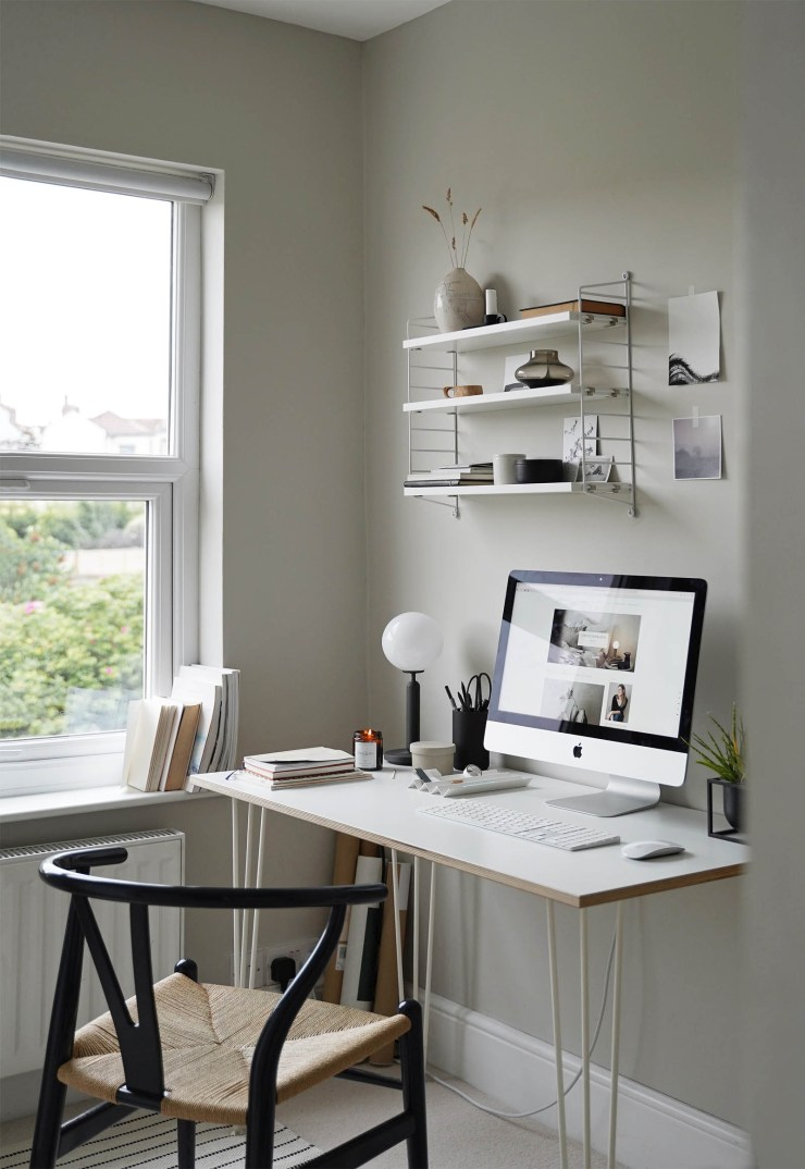 Minimalist grey home office with cosy touches   The Edit - a morning at your desk   These Four Walls blog