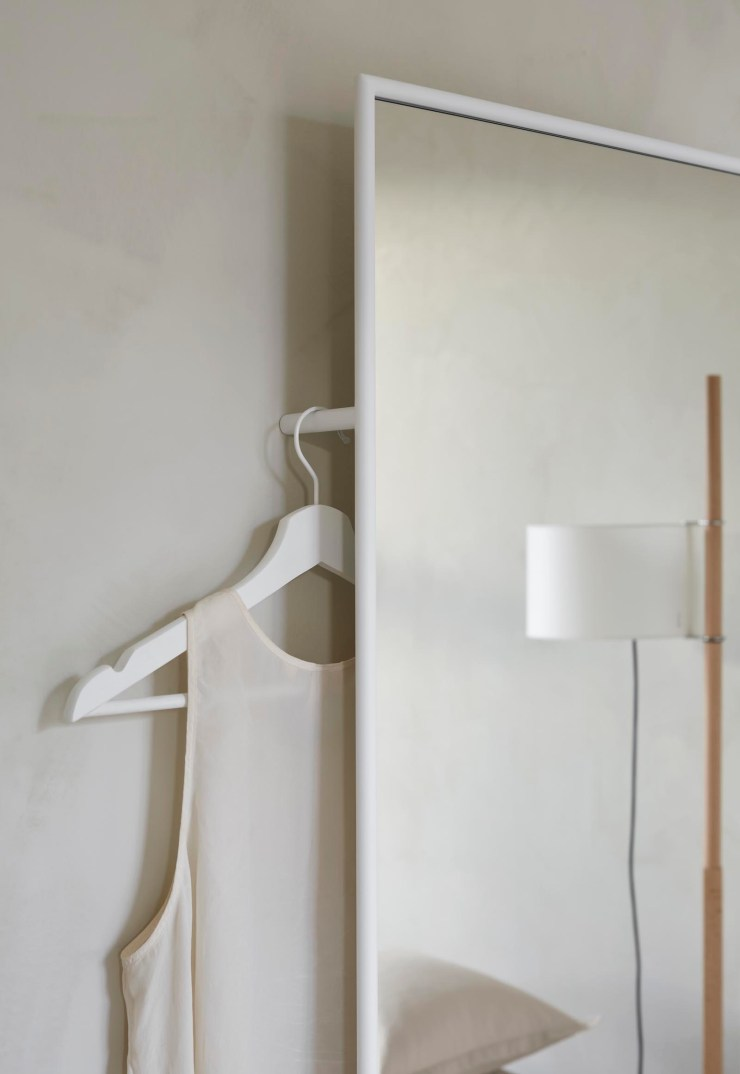 Minimalist white mirror with integrated hanging space by Swedish brand Design Of | These Four Walls blog