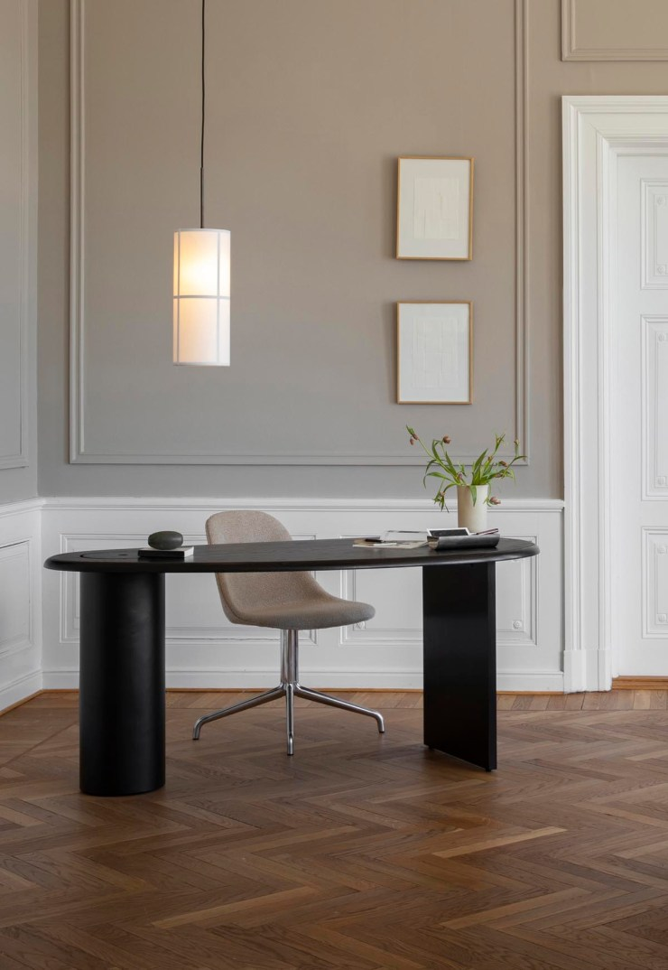 Office space with beige panelled walls and minimalist black oak desk   The autumn-winter 2021 collection from Menu   These Four Walls blog