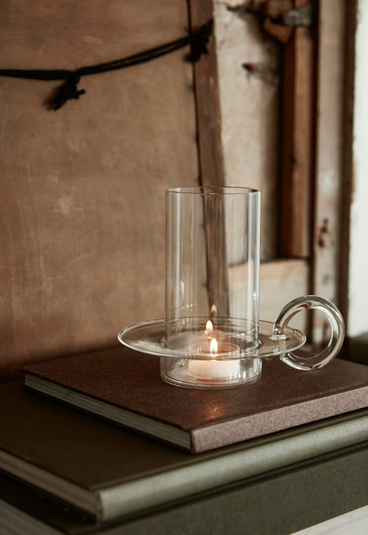Minimalist glass candle holder from Ferm Living's autumn-winter 2021 collection | These Four Walls blog