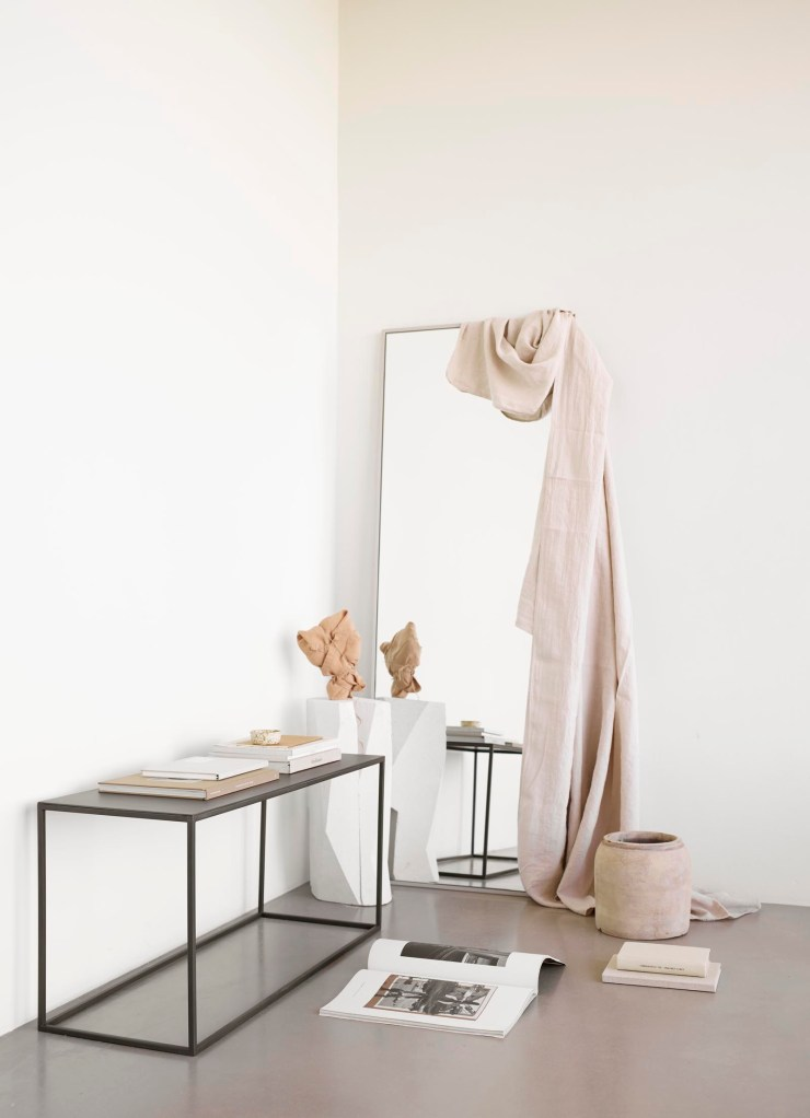 Minimalist metal bench and floor mirror from Tine K Home's latest collection | These Four Walls blog