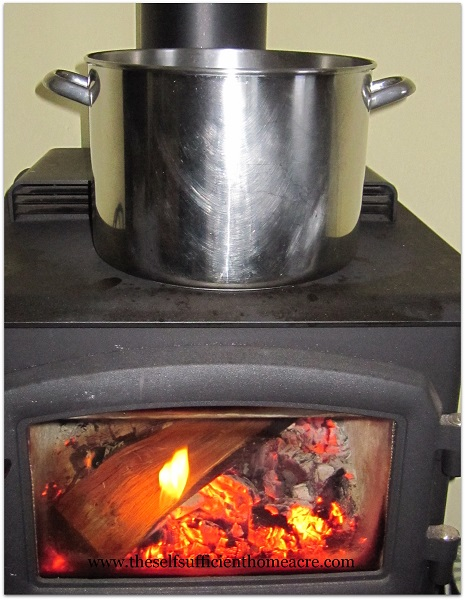Large Pot of Soup on the Wood Stove