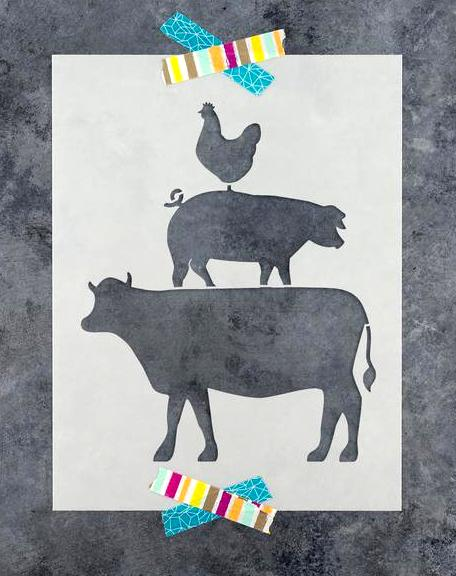 Cow, Pig, Chicken stencil