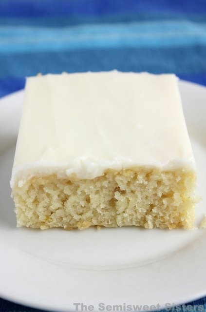 White Texas Sheet Cake With Vanilla