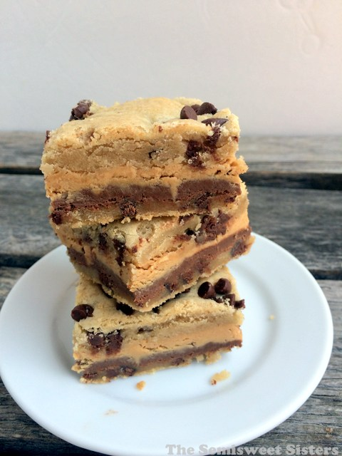 Chocolate Chip Cookie Buckeye Layer Bars
