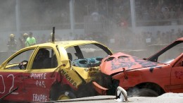A demolition derby heat at the Ormstown Fair. The cars weren't the only things experiencing heat. Photo: Hayley Juhl
