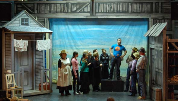 The cast rehearses Oklahoma! at Hudson Village Theatre in February 2013.
