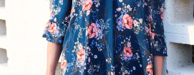 3/4 length floral dress